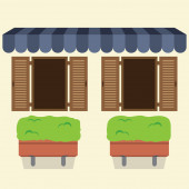 Two Windows Under Awning With Pot Plant Below Vector Illustratio — Stockvektor