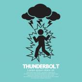 Thunderbolt On A Man Symbol Vector Illustration — Stockvektor