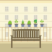 Empty Wooden Park Chair At Balcony Vector Illustration — Wektor stockowy