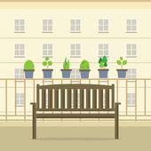 Empty Wooden Park Chair At Balcony Vector Illustration — ストックベクタ