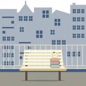 Empty Wooden Chair At Balcony Vector Illustration — Vector de stock