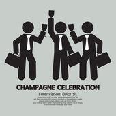 Businessmen With Champagne Celebration Symbol Vector Illustratio — Stock Vector