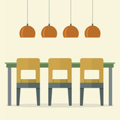 Flat Design Interior Dining Room Vector Illustration — Vecteur