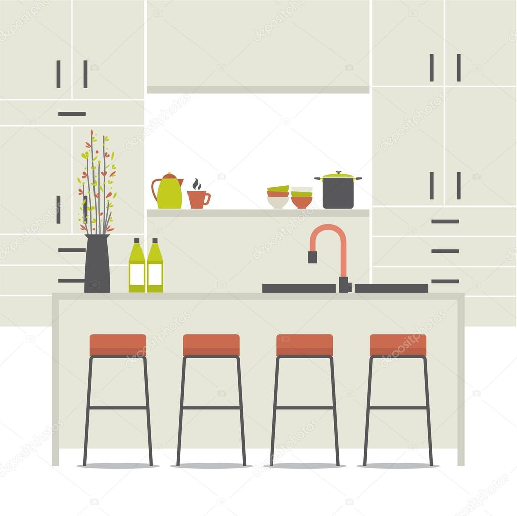 Interior Design For Kitchen For Flats: Modern Flat Design Kitchen Interior Vector Illustration
