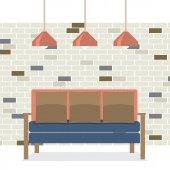 Nowoczesny projekt płaski Sofa wektor wnetrze ilustracja — Wektor stockowy