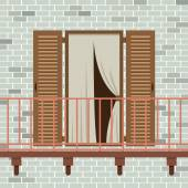 Opened Wooden Door With Balcony Vector Illustration — Vecteur