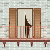 Opened Wooden Door With Balcony Vector Illustration — ストックベクタ