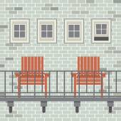 Empty Wooden Chairs At Balcony Vector Illustration — Stock Vector