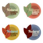 Natural Banners Design Set Vintage Style Vector Illustration — Stock Vector