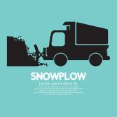 Snowplow Removing The Snow From Road Vector Illustration — Stock Vector