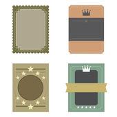 Set of Blank Vintage Retro Rectangle Badge Vector Illustration — Stock Vector