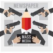 Mass Media Is The Hostage Vector Illustration — Stock Vector