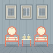 Vintage Chairs Set With Coffee Under Three Windows Vector Illust — Stock Vector