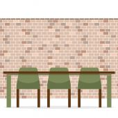Three Empty Chairs With Long Table On Brick Wall — 图库矢量图片