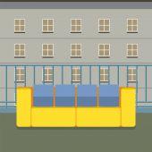 Kolorowy pusty Sofa na balkon ilustracji wektorowych — Wektor stockowy