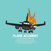Doomed Plane Accident On Fire Vector Illustration  — Stock Vector