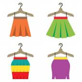 Colorful Women Skirts With Hangers Vector Illustration — Stock Vector