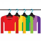 Colorful Long Sleeves Shirts With Hangers Vector Illustration — Stock Vector