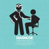 Doctor With Patient Diagnose Concept Black Symbol Vector Illustr — Stock Vector