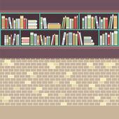 Vintage Style BookShelf On Brick Wall Vector Illustration — Vettoriale Stock