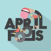 April Fools Typography Design Vector Illustration — Stock Vector