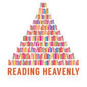 Reading Heavenly Colorful Books Stacks Vector Illustration — Stockvektor