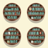 Set Of 4 Round Bookshelves On Wall Vector Illustration — Wektor stockowy