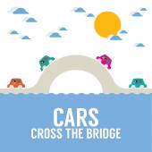 Cars Cross The Bridge Over The River Vector Illustration — Stock Vector