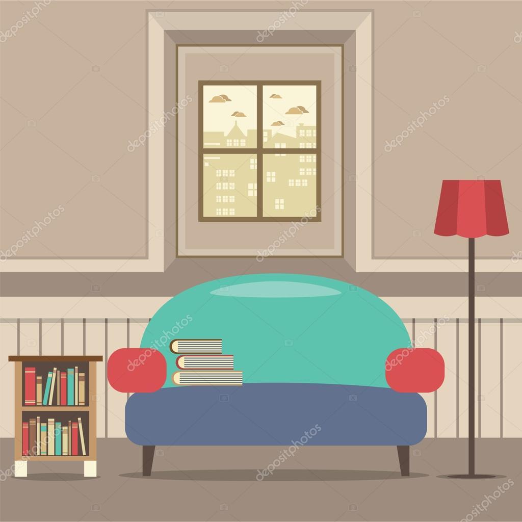 divano vuoto con lo scaffale davanti alla finestra immagine ... - Divano Davanti Finestra