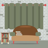Sofa With Bookcase In Front Of Green Curtain Vector Illustration — Stock Vector