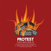 Protest By Tires Burned Vector Illustration — Stock Vector