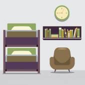 Puste łóżko piętrowe z fotelem i regał ilustracji wektorowych — Wektor stockowy