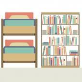 Platte ontwerp Bunk Bed met grote boekenkast vectorillustratie — Stockvector