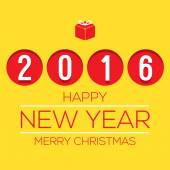 2016 Flat Design New Year Card Vector Illustration — Vector de stock