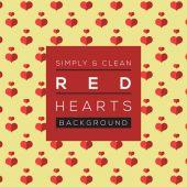 Ilustração em vetor fundo simples e limpa corações vermelhos — Vetor de Stock