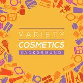 Ilustración de vector de variedad cosmética fondo — Vector de stock