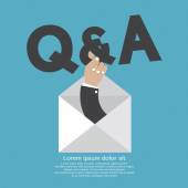 Q&A Typography In Hand Vector Illustration — Stock Vector