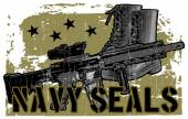 Navy Seals lettering with military elements — Stock Vector