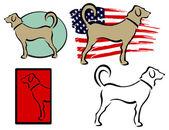 Vector set of funny cartoon dogs — Stock Vector