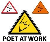 Poet at work warning sign — Stock Vector