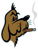 Smoking dog — Stock Vector