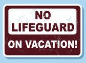 No lifeguard on vacation — Stock Vector