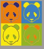 Panda in different  colors — Stock Vector