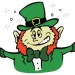 Cute Irish Leprechaun with mugs of ale — Stock Vector #63557935