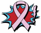 Comic breast cancer awareness — Stock Vector