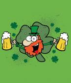Irish man with beer, St. Patrick's Day logo — Cтоковый вектор