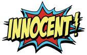 Comic word innocent — Stock Vector