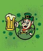 Irish man greeting with mugs. — Stock Vector