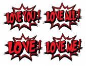 Colección de palabras de amor en estilo de cómic. — Vector de stock
