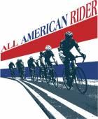 Cavaleiros da bicicleta bicicleta com Eua estrelas e listras — Vetor de Stock